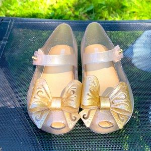 Mini Melissa Gold Sparkle Bow Jelly Shoe 8 Toddler